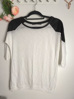 Zara Shirt Weiss mit Lederimitat Leder an den Schultern