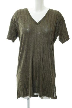 Zara Shirtkleid dunkelgrün-olivgrün Streifenmuster Casual-Look