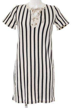 Zara Shirtkleid hellbeige-schwarz Streifenmuster Casual-Look