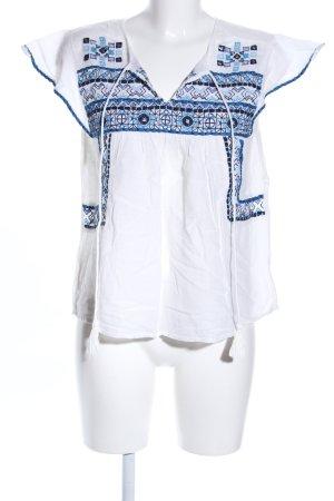 Zara Shirttunika weiß-blau grafisches Muster Casual-Look