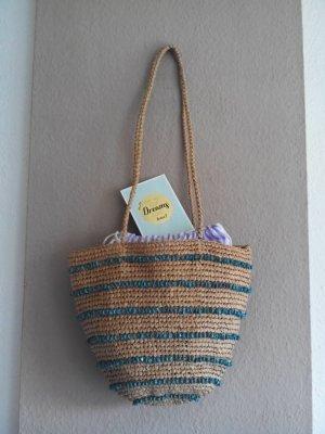 Zara Shopper Tasche aus Stroh, Schmucksteine in türkis, neu