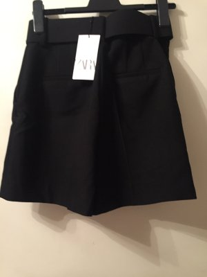 Zara Basic High-Waist-Shorts black viscose