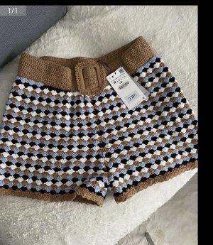 Zara High waist short bruin-blauw