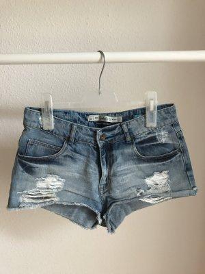 Zara Shorts blau Casual-Look Washed-Optik