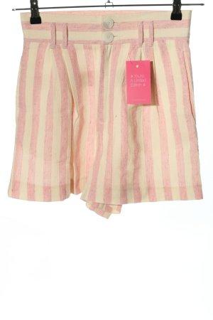 Zara Shorts pink-creme Streifenmuster Casual-Look