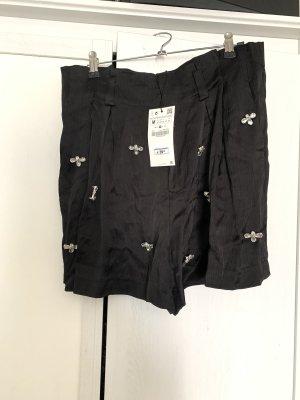 Zara shorts schwarz m satin Strass