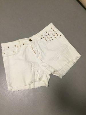 Zara Shorts weiß kurze Hose Gr 38 S/M Nieten Gold