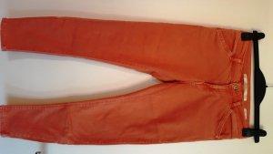 Zara Skinny-Hose/Jeans, Koralle/Terracotta, mit eingesetztem Gummibund am Knöchel, Gr. 36, washed look