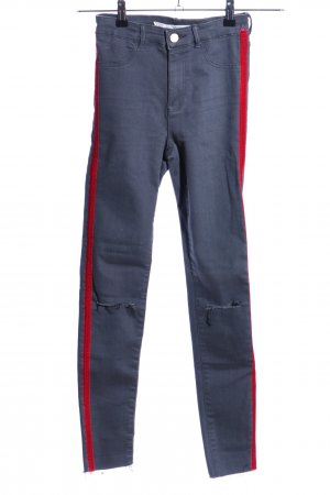 Zara Skinny Jeans hellgrau-rot Streifenmuster Casual-Look
