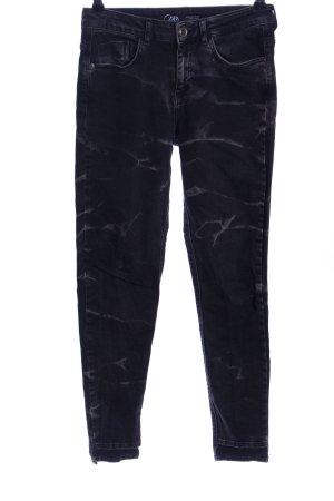 Zara Skinny Jeans schwarz-hellgrau abstraktes Muster Casual-Look