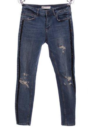 Zara Skinny Jeans blau-schwarz Casual-Look