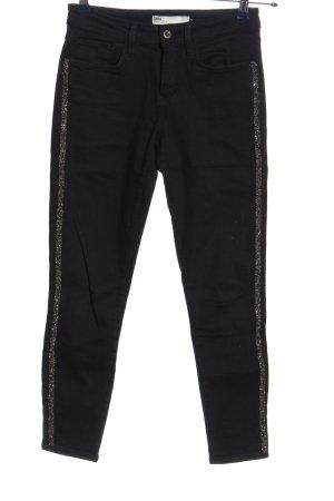 Zara Skinny Jeans schwarz-silberfarben Casual-Look