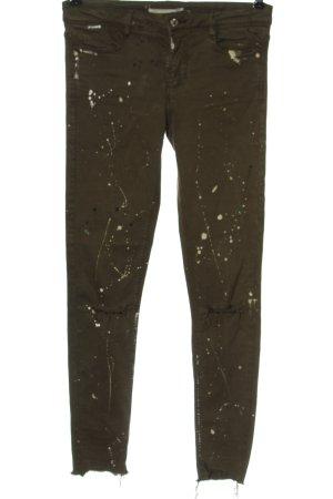 Zara Skinny Jeans khaki-wollweiß Casual-Look