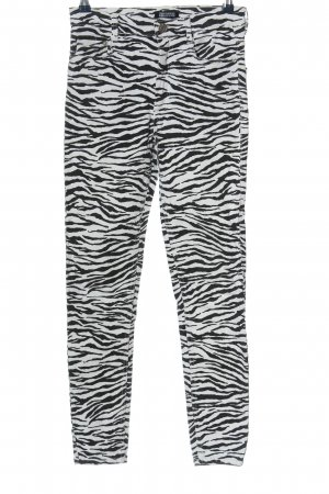 Zara Skinny Jeans weiß-schwarz Allover-Druck Casual-Look