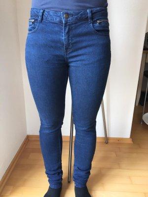 Zara Jeans cigarette bleu foncé-bleu tissu mixte