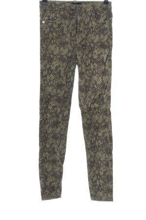 Zara Skinny Jeans khaki Allover-Druck Casual-Look