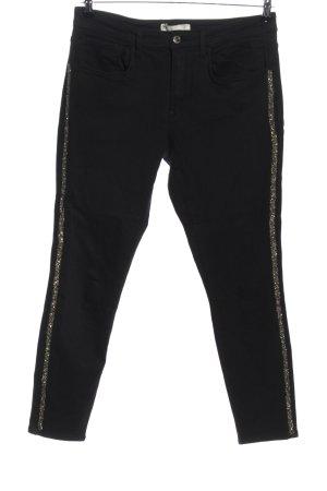 Zara Skinny Jeans schwarz-goldfarben Casual-Look
