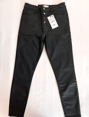 Zara Skinny Jeans Black Coating | schwarz | Gr. 42