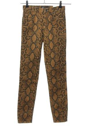 Zara Skinny Jeans bronzefarben-schwarz Allover-Druck Casual-Look