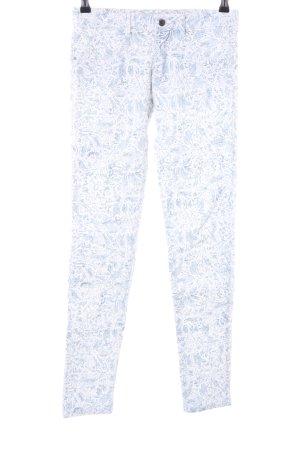 Zara Skinny Jeans weiß-blau abstraktes Muster Casual-Look