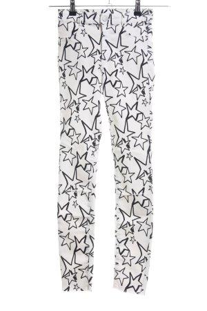 Zara Skinny Jeans weiß-schwarz Motivdruck Casual-Look