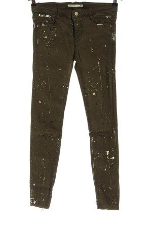 Zara Skinny Jeans khaki-creme abstraktes Muster Casual-Look