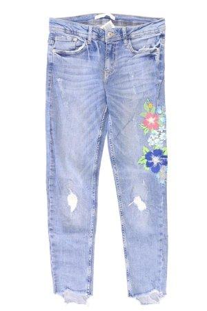 Zara Skinny Jeans Größe 36 mit Blumenmuster blau aus Baumwolle