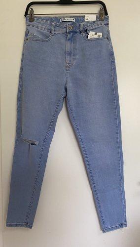 Zara Skinny Jeans High Waist mit Risse 38 M Hellblau