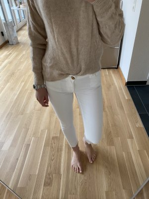 Zara Skinny Jeans mit ausgefranstem Saum Weiß Gr. XS / 34 - NEU!
