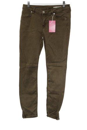 Zara Skinny Jeans olivgrün Casual-Look