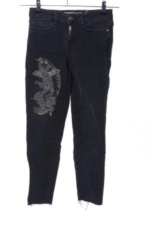 Zara Skinny Jeans schwarz Motivdruck Casual-Look