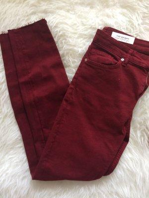 Zara Skinny Röhren Jeans 38 M neu bordeaux weinrot Herbst