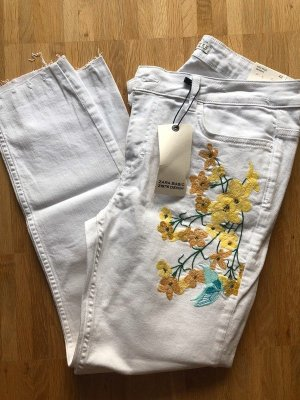 Zara Skinny Röhren Jeans 42 XL weiß neu Blumen Stickerei bestickt brodiert