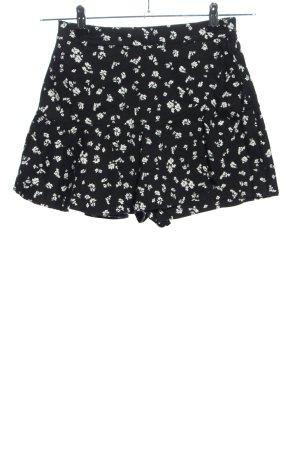 Zara Skorts schwarz-weiß Blumenmuster Casual-Look