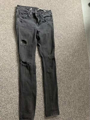 Zara Slim fit medium rise Jeans grau schwarz destroyed