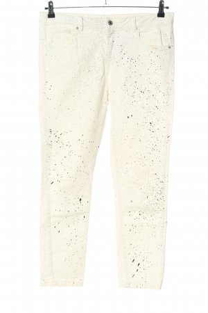 Zara Slim Jeans weiß-schwarz abstraktes Muster Casual-Look