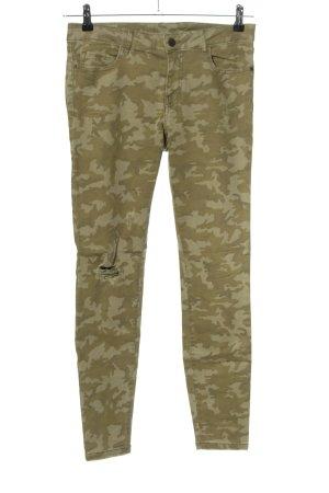 Zara Slim Jeans khaki-goldfarben Camouflagemuster Casual-Look