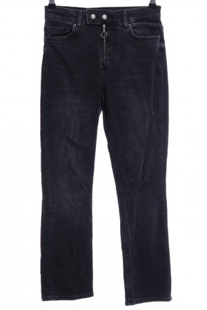 Zara Slim Jeans anthrazit Destroy-Optik