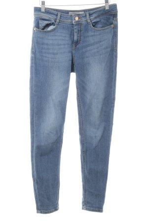 Zara Slim Jeans blau-graublau Webmuster Casual-Look