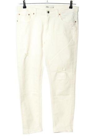 Zara Jeans slim fit bianco sporco stile casual