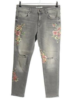 Zara Slim Jeans Blumenmuster Casual-Look