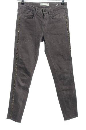 Zara Slim Jeans hellgrau-silberfarben Casual-Look