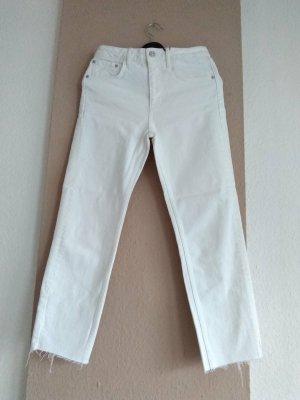 Zara Slim Jeans mit mittelhohem Bund in weiss, Grösse 38, neu