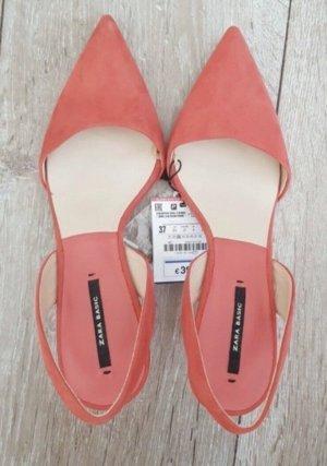 Zara Slingback pumps licht Oranje-abrikoos
