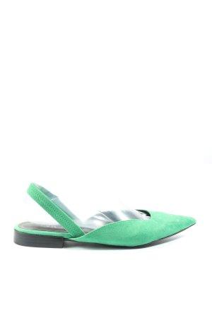 Zara Slingback Ballerinas grün Casual-Look