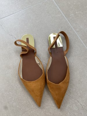 Zara Slingback Ballerinas gold-colored
