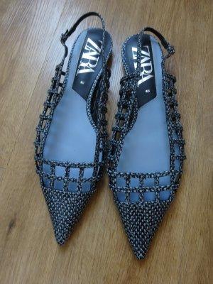 Zara Slingpumps blau/schwarz flach 40 NEU
