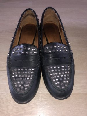Zara Mocasines negro-color plata
