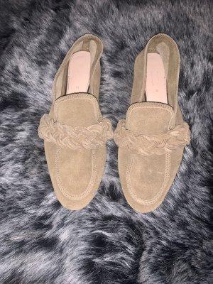 Zara Slipper Loafer Ballerina Mokassins Schuhe geflochten echt Velour Leder