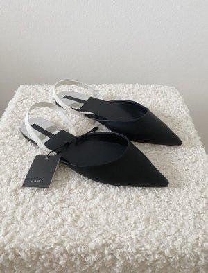 Zara Slipper Schuhe Mules Spitz Schwarz Weiß Elegant